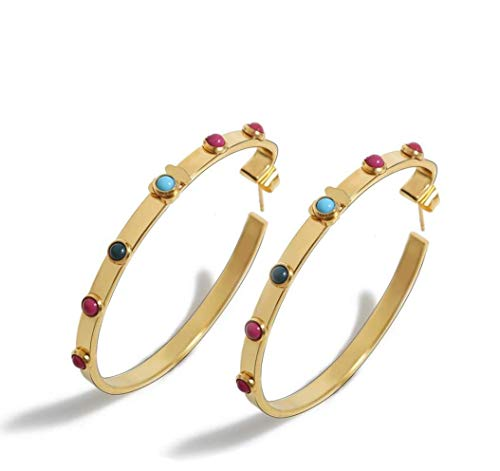 (ceillim Women Bohemian Hoops Earrings Gold and Yellow Tone with Multicolor Stone)