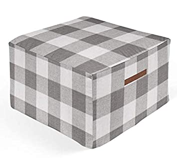Outstanding Amazon Com Twig Bird Ottoman Pouf In Gray Buffalo Check Bralicious Painted Fabric Chair Ideas Braliciousco