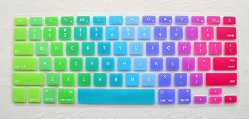 """Silicone Colored Rainbow Style Keyboard Protector Cover Waterproof keypad Skin for Apple MacBook Pro 13"""" 15"""" 17"""" Aluminum Unibody & MacBook Air 13"""" USA Keyboard Layout Silicone Skin (Rainbow)"""