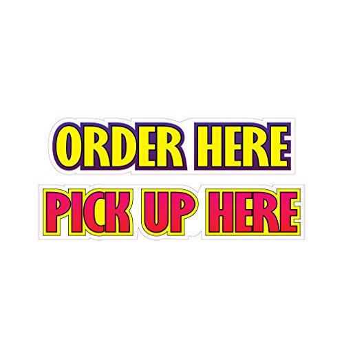 Designs Die Cut Address Labels - Order Here Pick Up Here Concession Restaurant Food Truck Die-Cut Vinyl Sticker 10 inches