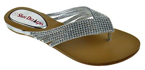 Shoe Dezigns Kylee 09 Womens Rhinestone Embellished Thong Flat Sandals Silver ()