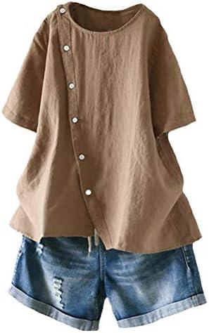 Minibee Women`s Linen Blouse Tunic Short Sleeve Shirt TopsButtons Decoration