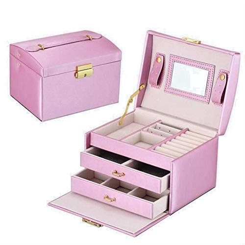 Storage Boxes Bins - Dressing Table Jewelry Box Storage Girl Gift 17.5 14 13cm Double Drawer Three Layer Hand Held Pu - Boxes Organizers Bins Storage Storage Boxes Bins Drawer Wooden Chest Cabi