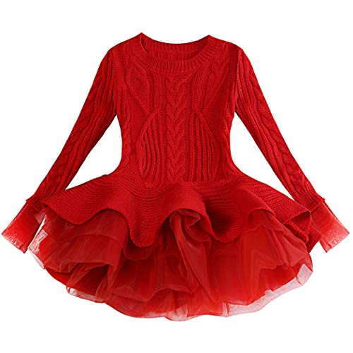 Generic Christmas Sweater Dresses for Girls Ruffle Sweater Long Sleeves Tutu Dress Stitching Knitting Pullover Tops for Kids (Red, 100)
