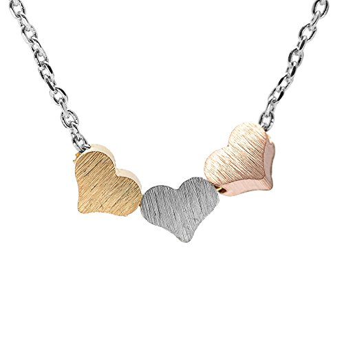 SpinningDaisy Handcrafted Brushed Metal Tri Color Heart Necklace (Tri Color Necklace)
