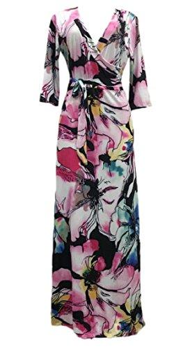Jaycargogo Femmes Été Bohême Manches Longues Imprimé Floral Fête De Plage Rose Robe Longue