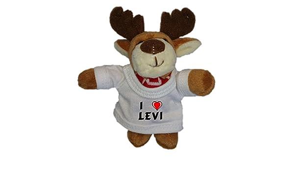 Reno de peluche (llavero) con Amo Levi en la camiseta ...