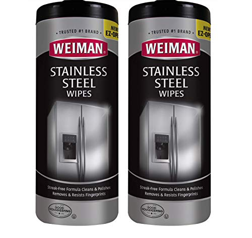 Weiman Stainless Steel Cleaner Wipes (2 Pack) Fingerprint Resistant, Removes Residue, Water Marks and Grease from Appliances - Works Great on Refrigerators, Dishwashers, Ovens, and Grills ()