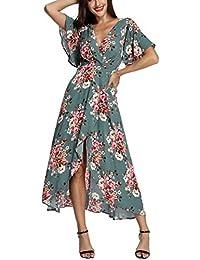 Wrap Maxi Dress Short Sleeve V Neck Floral Flowy Front Slit High Low Women Summer Beach Party Wedding Dress