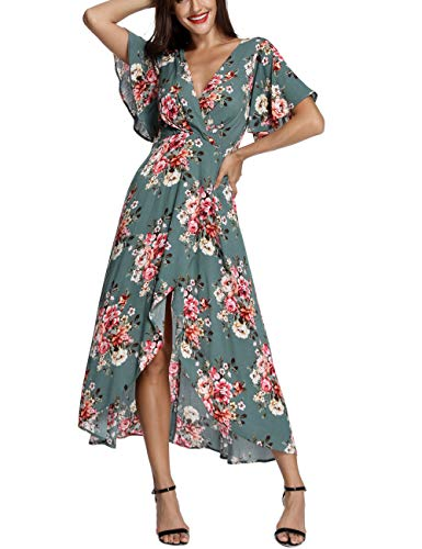 - Azalosie Wrap Maxi Dress Short Sleeve V Neck Floral Flowy Front Slit High Low Women Summer Beach Party Wedding Dress Green