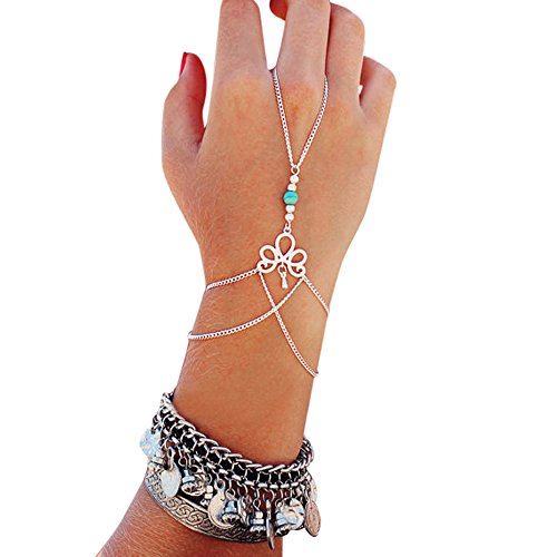 Generic Fashion Retro Bracelet Finger Ring Bangle Slave Chain
