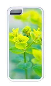 Customized Case Nature yellow green TPU White for Apple iPhone 5C