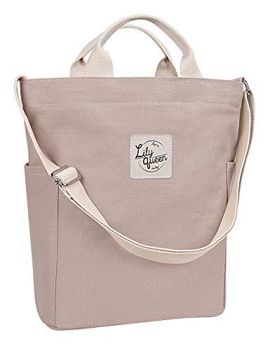 Lily Queen Women Canvas Tote Handbags Casual Hobo Shoulder Bag Crossbody (Taupe Grey)
