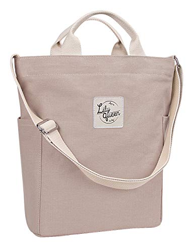 Lily Queen Women Canvas Tote Handbags Casual Hobo Shoulder Bag Crossbody (Taupe Grey)