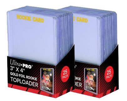 Rookie Card Print - 2 Ultra Pro Regular Top Loader Pack W/gold Rookie Foil Print 81180 - 25 Toploaders Per Pack (50 Total) - Standard Size Baseball, Basketball, Football, Hockey