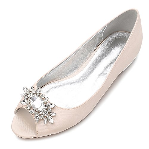 MarHermoso Womens Peep Toe Flats Elegant Champagne Satin Wedding Bridal ()