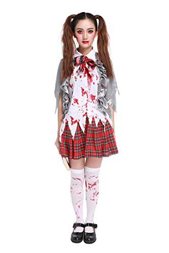 Honeystore Women's Scary Zombie Bloody Schoolgirl Halloween Costume XL]()