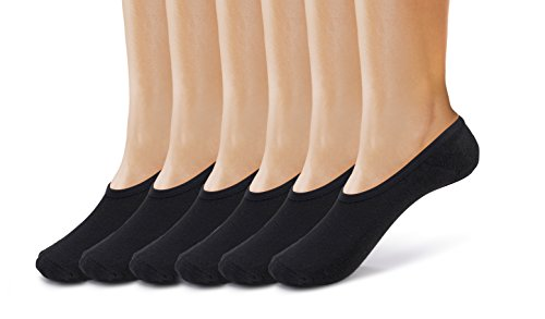 Silky Toes Womens No Show Socks 6 Pk, Non- Slip Silicone Cushion Foot Liners (9-11 Black-6 Pairs)