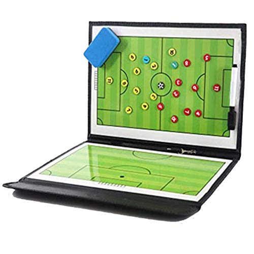 Sporeek Tactic Board for Soccer Coaching Board Portable Football Coach Tool Coaching Clipboard Kit with Marker Pen Dry-Erase Board Full & Half Field View Sides Teaching Board