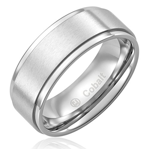 Cavalier Jewelers 8MM Cobalt Chrome Ring Wedding Band - Flat Brushed Top and Polished Finish Edges [Size ()