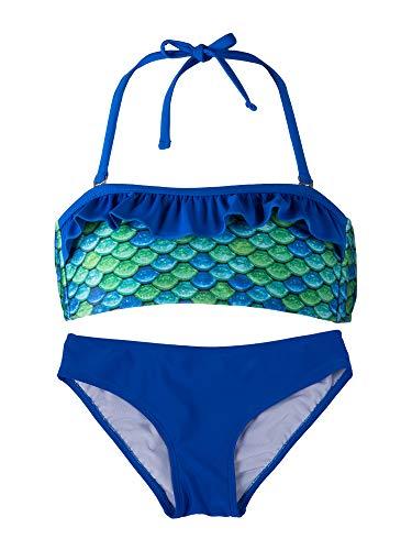 Fin Fun, Bandeau Bikini Set, Aussie Green Top, Royal Blue Bottoms, Girl