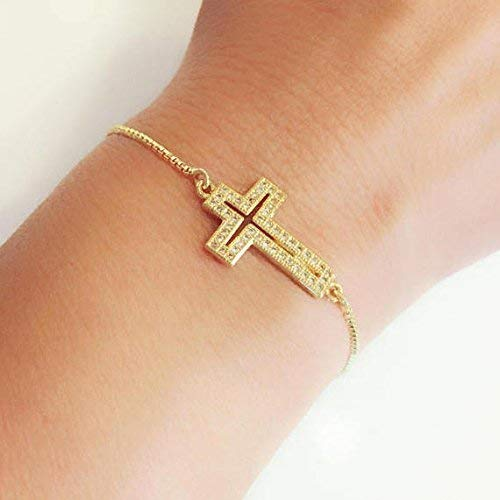 - 18k Gold Plated Cubic Zirconia Cross Adjustable Sliding Clasp Bracelets for Women
