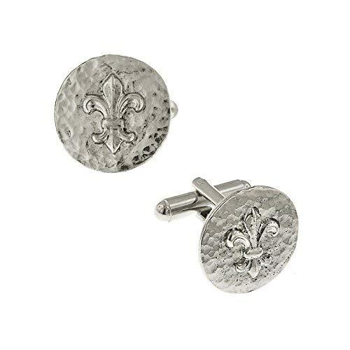 1928 Jewelry Silver-Tone Hammered Fleur de Lis Cuff Links