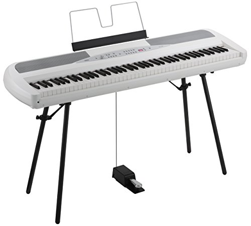 Korg SP280WH 88 Key Digital Piano with Stand and Pedal - White