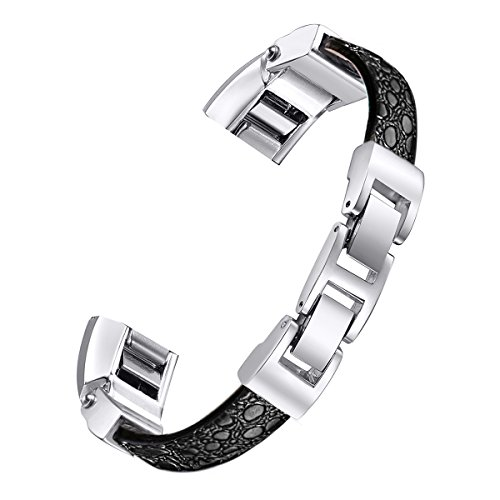 "bayite For Fitbit Alta and Alta HR Bands, Leather Bands Adjustable Metal Buckle Stone Pattern Black Large 6.7"" - 8.1"""