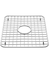 InterDesign Gia Kitchen Sink Protector - Wire Grid Mat with Center Drain Hole, Polished
