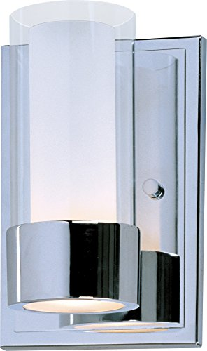Maxim 23071CLFTPC Silo 1-Light Wall Sconce, Polished Chrome Finish, Clear/Frosted Glass, G9 Frost Xenon Xenon Bulb , 25W Max., Dry Safety Rating, 2900K Color Temp, Standard Dimmable, Glass Shade Material, 960 Rated Lumens (Sconce One Light Chrome Polished)
