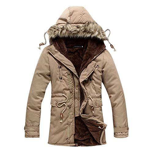 Velluto Di Di Uomini Addensare Pagliaccetti Giacca Degli All'aperto Lunga D'inverno Cappotto Huixin Abbigliamento Cappuccio Parka Informale Capispalla Manica Riscaldamento Kaki BqAXExW5