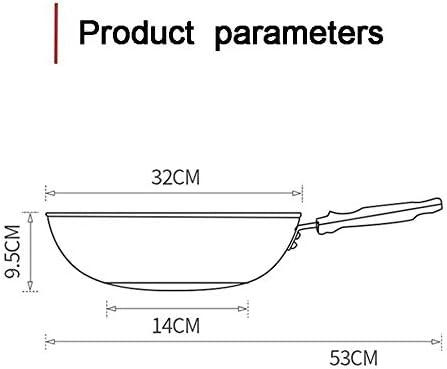 Sauteuse à Induction sans revêtement Wok en Acier Inoxydable 32 cm avec poignée auxiliaire Poêle à Frire Polyvalente