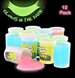 Katzco Glow in The Dark Slime - 12 Pack Assorted Neon Colors - Green, Blue, Orange and Yellow for Kids, Goody Bag Filler, Birthday Gifts Non-Toxic