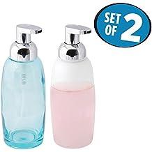 mDesign Foaming Glass Soap Dispenser Pump, Two-Piece Bathroom Accessory Set- Aqua/Chrome, Frost/Chrome