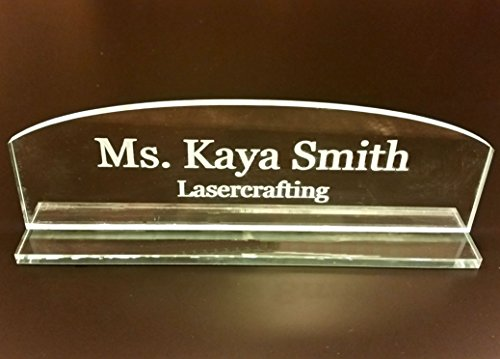 Acrylic Name Plate - Select Engraved or Color Option, Cove or Square Top (Engraved, Rounded Top) ()
