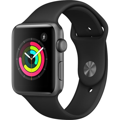 Apple Watch Series 3 (GPS) 42mm Smartwatch (Space Gray Aluminum Case, Black Sport Band)