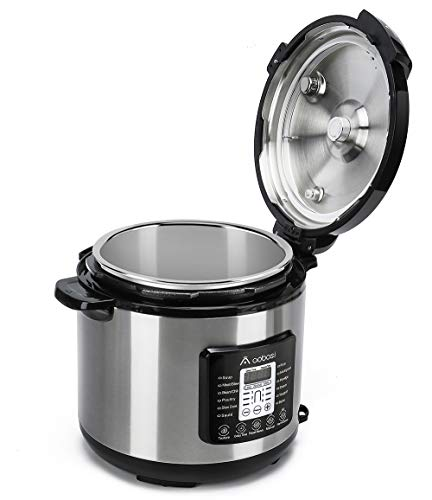 Aobosi Pressure Cooker 8QT 8-in-1 Electric Multi-cooker,Rice Cooker,Slow Cooker,Sauté,Yogurt Maker,Warmer|6 Pressure Levels|Large Family Size|Free Steamer Rack,Recipe,Sealing Ring,Stainless Steel Pot