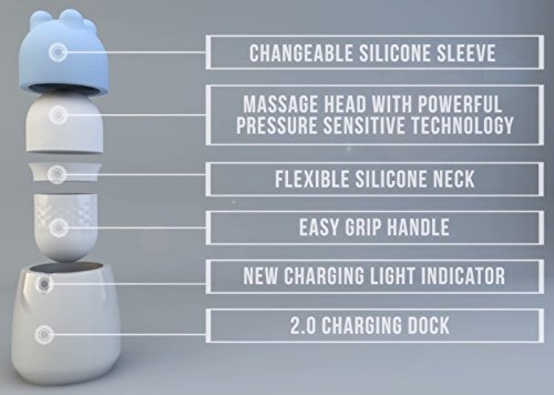 New Pressure Intelligent Waterproof USB Rechargeble Wellness Body Massager w/Shiatsu & Swedish Silicone Sleeves+ Includes a Free Body Heat Warming 1.25 oz Massage Lotion by SOLA