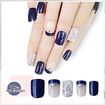 Doreliss uñas postizas 30 Pcs Diamantes Consejos corto uñas falsas de Pegamento adhesivo de doble cara Azul plateado