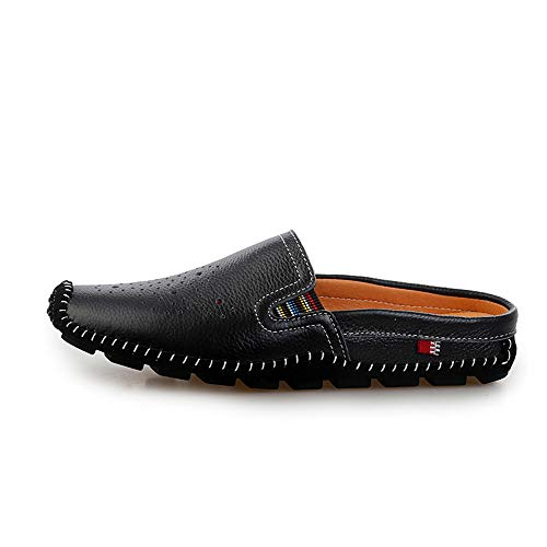 Gommino de Barco 27 Mocasín Zapatos Las Gommino Mocasín hacia Negro Blanco genuinos 0cm de Zapatillas Ocasionales Zapatos Respirables Zapatos 0cm 24 Cuero Ahueca Hombre Fuera Negro de Tamaño conducción t5d5q