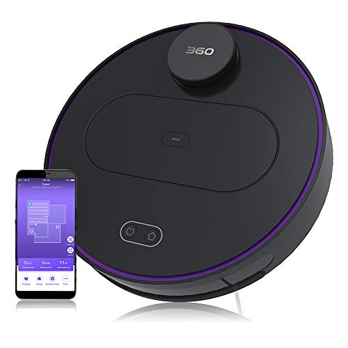 360 Robot Vacuum and Mop Cleaner, Works with Alexa, Intelligent Cleaning with 1800Pa Super Power Suction, Laser Navigating, Multi-Map Management, Up to 110Min for Pet Hair, Carpet and Hard Floor BLACK