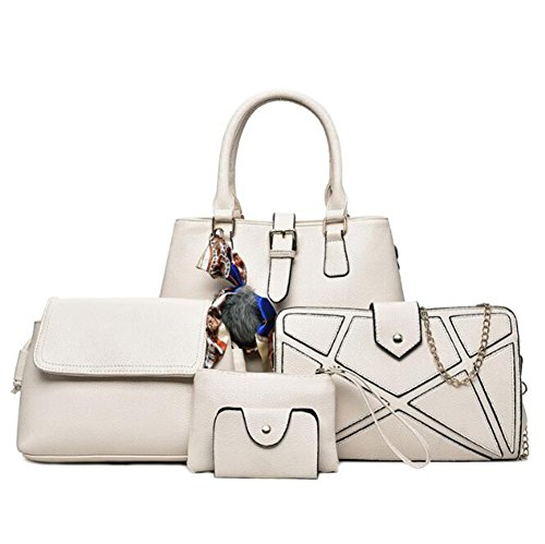 LXYIUN Shoulder Fashion Six Card Handbag Package Tote Brown Package White Leather Piece Suit Bags Clutch PU Package Fashion Diagonal Women's SnPaSXr