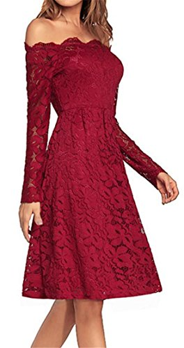 Red Cromoncent Long Off Midi Women Elegant Swing Shoulder Lace Dresses Sleeve Pleated 4PqTPXxr