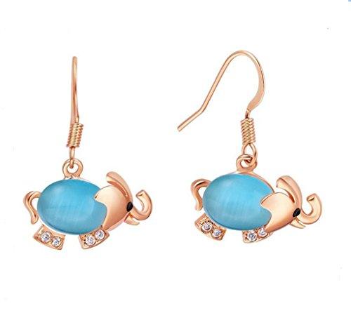 Infinite U Eléphant Opale Plaqué Or Rose Pendants/Boucles d'oreilles pour Femme Bleu