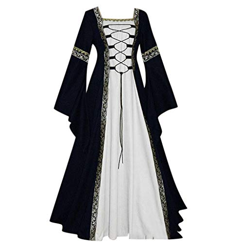 ℱLOVESOOℱ Womens Renaissance Medieval Costume Dress Lace Up Irish Floor Length Vintage Long Party Dress Cosplay Retro Gown Black -