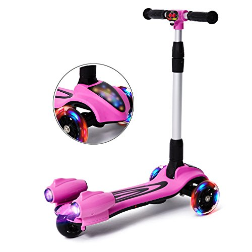 MammyGol Kick Scooters for Kids,Adjustable Handle Folding LED Spray Jet Scooter, 3...