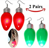 Toy 2 in 1 LED Light Up Bulb Christmas Flashing Earring and Necklace for Holiday Party Favors (2 Pack)