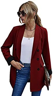 MakeMeChic Women's Casual Shawl Collar Double Breasted Long Sleeve Office Bl