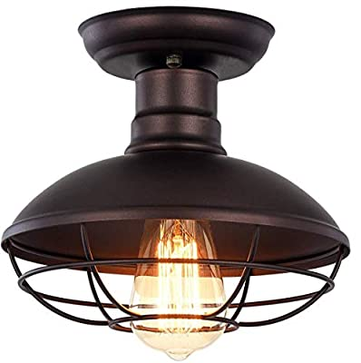 """Vintage Industrial Mini Metal Cage Ceiling Light - MKLOT E26 Rustic Black Pendant Lighting Semi Flush Mounted 8.66"""" Wide Dome Shaped Lamp Fixture Farmhouse Style for Kitchen Garage Porch Entryway"""